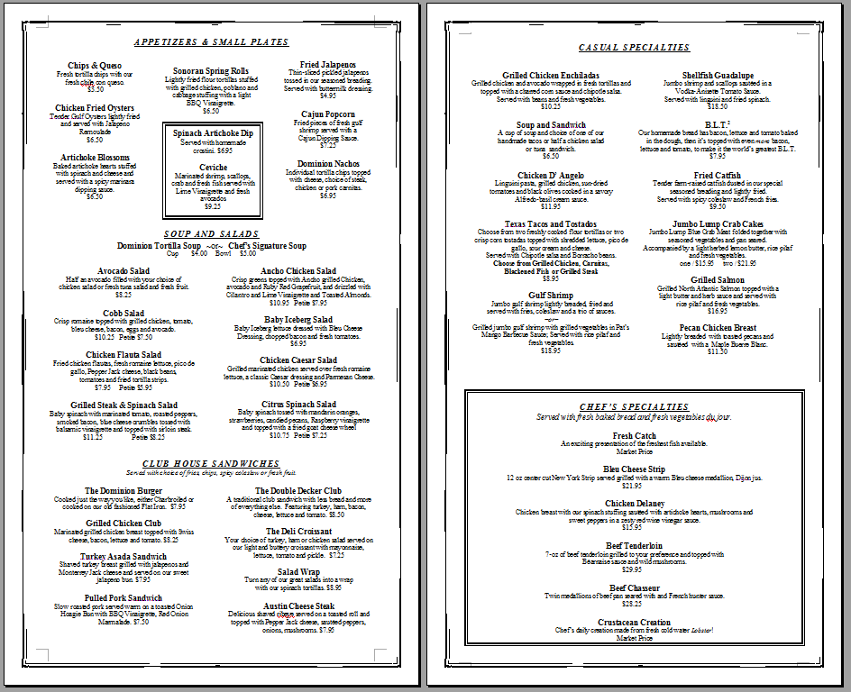 Free menu template being the chef for Free download menu templates